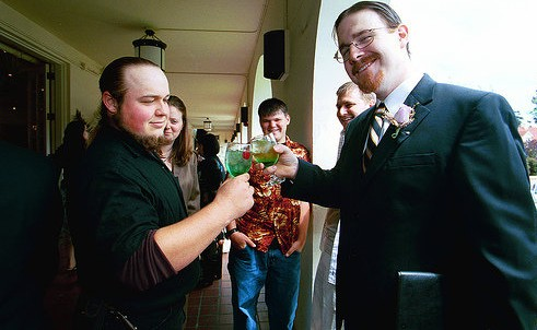 Picture of Rosco Carrico Crooke being a reverend for a friends wedding.