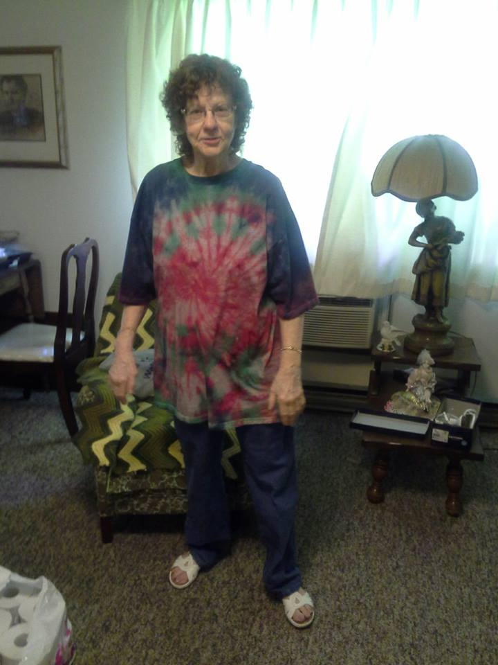 mom in tie dye shirt I made