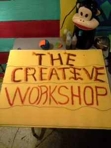 The Carricocreations studio, The Creative Workshop sign