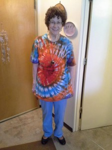 Mom Donna Crooke in a tie dye