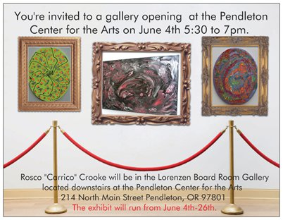 "Rosco ""Carrico"" Crooke Gallery opening invitation"